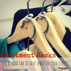 Do you have a cramped #closet? Save all the tabs from your soda cans and place them on the top of your hangers. Now you can hang a second hanger from the other hole in the tab. http://www.apartmentguide.com/blog/7-genius-hacks-every-apartment-dweller-know/ #apartment #hack