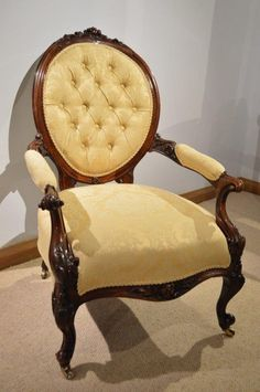 """A Beautiful Rosewood Victorian Period Open Armchair 1860 England. 36""""H x 26""""W x 26""""D."""