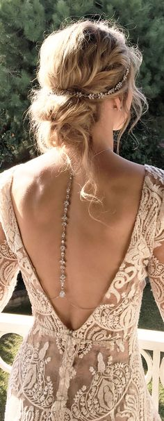 Bridal back pendants pair perfectly with low back wedding gowns