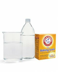 "How to dissolve a clog without Drano, via Martha: ""Pour 1/2 cup baking soda, followed by 1/2 cup white vinegar, down the drain, and cover with a plug or rag. The mixture will work to break down any fats into salt and harmless gas. Flush with boiling water poured from a teakettle."""