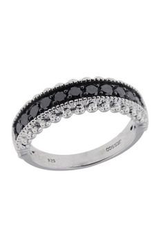 Sterling Silver Black Diamond Ring, .70 TCW
