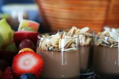 Chocolate Panna Cotta topped with toasted Almonds