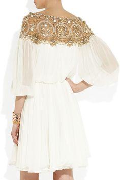 Marchesa|Embellished silk-chiffon dress