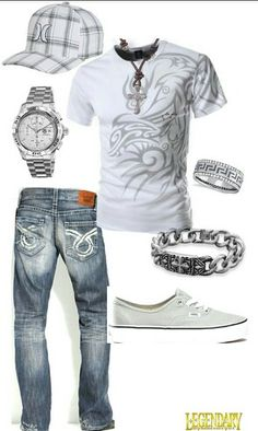 Men's casual white jean outfit