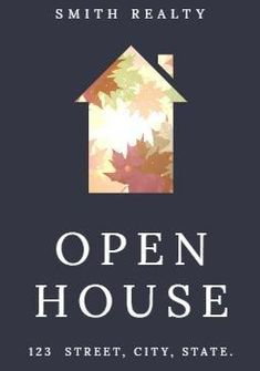 An illustration of a house. White text also displays the address of the open house.