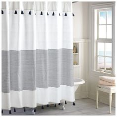 Peri Home Panama Stripe Shower Curtain ($30) ❤ liked on Polyvore featuring home, bed & bath, bath, shower curtains, stripe shower curtains, striped shower curtains and vintage shower curtains