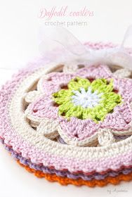Anabelia craft design: Daffodil crochet coasters pattern, new color schemes