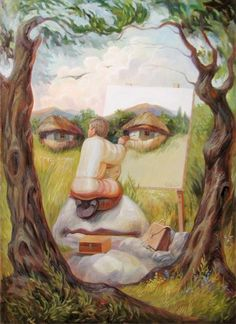 Hidden Images: Optical Illusion Paintings by Oleg Shuplyak Face Illusions, Cool Illusions, Optical Illusions Pictures, Funny Illusions, Op Art, Image Illusion, Illusion Kunst, Optical Illusion Paintings, Illusion Drawings