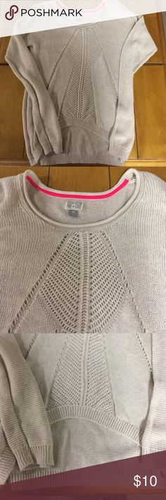 Converse cream sweater SZ M Very cute see through sweater with front higher than back. Fushia trim to inner back neck area. Very good condition and light tan in color. Converse Sweaters Crew & Scoop Necks