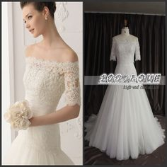 Find More Vestidos de noiva Information about frete grátis fora do ombro mangas meia dot apliques laço vestidos de noiva,High Quality lace ball gown,China lace long gown Suppliers, Cheap lace up evening gowns from 100% Love Wedding Dress & Evening Dress Factory on Aliexpress.com