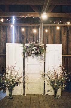 Altar backdrop made of old doors. Cutting Garden Pie Ranch
