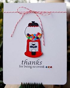Gumball machine thank you card by @Kelley Oberg Smith Eubanks