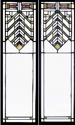 A PAIR OF LEADED GLASS WINDOWS  DESIGNED BY FRANK LLOYD WRIGHT, PROBABLY EXECUTED BY THE LINDEN GLASS COMPANY, FOR THE WILLIAM R. HEATH RESIDENCE, BUFFALO, NEW YORK, CIRCA 1905