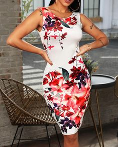 Floral Print Sleeveless Casual Dress Shop- Women's Best Online Shopping - Offering Huge Discounts on Dresses, Lingerie , Jumpsuits , Swimwear, Tops and More. Backless Maxi Dresses, Floral Maxi Dress, Bodycon Dress, Midi Dresses, Mode Outfits, Trendy Outfits, Moda Floral, Casual Dresses For Women, Clothes For Women