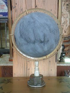 an old globe painted with chalkboard paint to draw the countries.  Awesome.