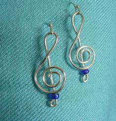 Treble Clef Handmade Silver Earrings with Blue Bead by NOLAdreamers on Etsy