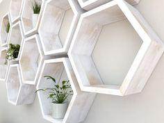 Rustic White Hexagon Wall Shelf in Solid Oak Rustic White Geometric Shelves, Honeycomb Shelves, Rustic White, White Oak, Hexagon Wall Shelf, Different Shapes, Solid Oak, Wall Shelves, Room Decor