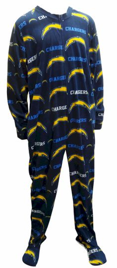 San Diego Chargers Guys Onesie Footie Pajama Show your team spirit! This cozy microfleece footie pajama for men features the cl...