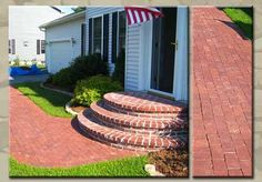 Best Arched Red Brick Steps On Entry Way Porch Landing In 400 x 300