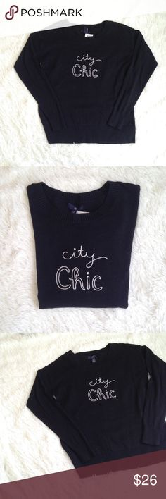 "Gap City Chic Black Scoop Neck Sweater Gap City Chic Black Scoop Neck Sweater. Features embroidered lettering, scoop neckline, fitted sleeves. 100% cotton. Gently used condition with no flaws. size XS. Measurements are laid flat and approximate: Length 24"", Bust 18.5"". GAP Sweaters Crew & Scoop Necks"