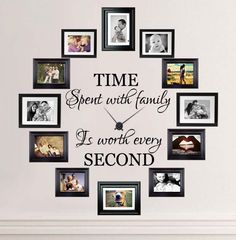 Cheap time spent with family, Buy Quality time spent directly from China family quotes Suppliers: Time Spent with Family is Worth Every Second Lettering Wall Stickers Family Quotes Wall Decals Living Room Vinyl Wall Decor Family Wall Decor, Living Room Decor, Family Room Decorating, Family Clock, Decor Room, Picture Wall, Photo Wall, Picture Clock, Artsy Picture