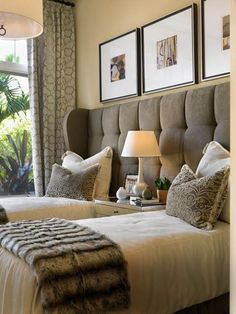one big headboard, two twin beds, perfect for a guest room. Home Bedroom, Bedroom Decor, Bedroom Ideas, Bedroom Designs, Modern Bedroom, Bed Designs, Bed Ideas, Bedding Decor, Bedroom Sofa