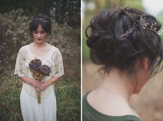 love the wispy hair, dark florals and lace shawl!