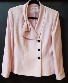 Suit Studio Pastel Pink Blazer Size 14 Bow Lapel 3 Black Buttons Office Church #SuitStudio #Blazer