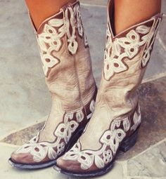 taupe, scalloped cowboy boots