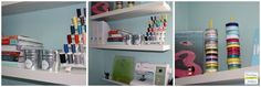 Extra storage looks great with shelves and picture ledges to keep items off the tables.