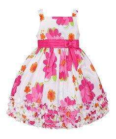 Look at this #zulilyfind! White & Pink Floral Ruffle Dress - Toddler & Girls by American Princess #zulilyfinds