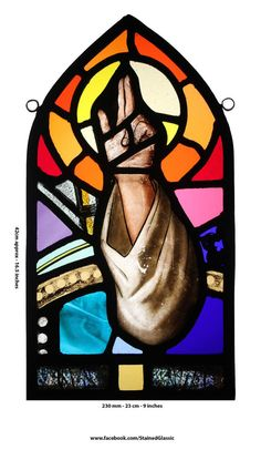 Stained Glass Panel, Based on 19th cen Antique Glass, Re-Leaded, Recomposed in 2014, Depicting Hand of Christ, Ref: JC-Arm