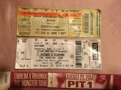 2 of my ticket stubs from Eminem concerts. I've been to 3, the first one was after 8 mile came out. All in Detroit since I do live in Michigan. He puts on an amazing show!!
