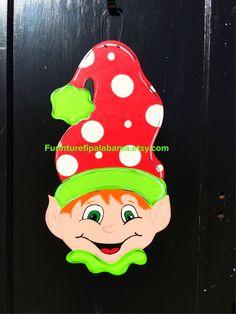 Christmas Elf door hanger, christmas door decor, christmas wreath, by Furnitureflipalabama on Etsy