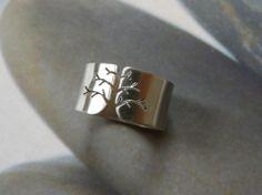 Fa ezüst gyűrű (szatén, 10mm széles), Sempervivum, meska.hu #tree #silver #ring