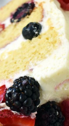 Berry Chantilly Cream Cake ~ Homemade 5 Star Rated Yellow Cake layered with chantilly cream frosting and fresh berries... A gorgeous popular fresh fruit cake.