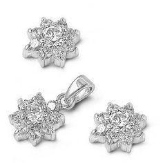 Silver Sets W/ CZ - Plumeria