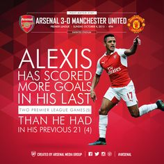 Post-Match Stat. Arsenal 3 - 0 Manchester United. October 4, 2015. Alexis Has scored more goals in his last two premier league games than he had in his previous 21.