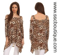 New! Animal print, 3/4 sleeve, cold shoulder, square neck top with asymmetric hem. Only $47.50! M-3XL! Get yours now!  http://www.sscboutique.com/collections/new-arrivals/products/animal-print-square-neck-top    #coldshouldertop #ridgeland #gameday #plussize