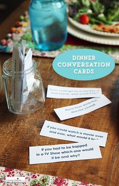 Perfect meal idea for your family or a dinner Free Printable Dinner Conversation Starter Cards. Perfect meal idea for your family or a dinner party! Wedding Table Games, Conversation Cards, Conversation Starters, Dinner Games, Dinner Party Meals, Dinner Party Starters, Dinner Party Table, Progressive Dinner, Dinner With Friends