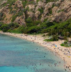 A beautiful shot of the beach crowded with friends and families. Hawaiian Luau, Hawaiian Islands, Hawaii Flights, Flight Sale, Southwest Airlines, International Flights, Waikiki Beach, Pearl Harbor, Hawaii Travel