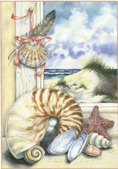 Corner of a window looks out to shore and sea with clusters of shells on the inside of the window. Sea Art, Coastal Art, Beach Crafts, Beach Scenes, Nautical Theme, Mail Art, Art Pictures, Sea Shells, Watercolor Art
