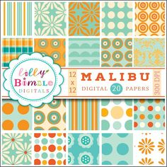 Malibu orange and aqua digital papers for cards, scrapbooking teal. $5.00, via Etsy.