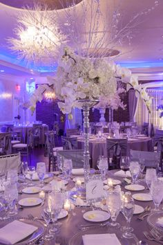 statement wedding centerpiece white and silver | event center at blue