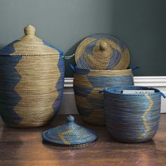 I want these, but they are so stinkin' expensive.    Senegalese Storage Baskets - Blue | Serena & Lily
