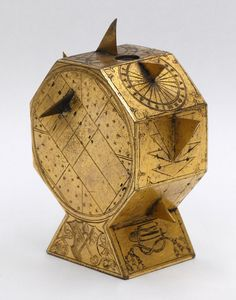 """The Museum of the History of Science, Oxford has a polyhedral sundial in the shape of an octagon that has been attributed to Nicolas Kratzer:  The sundial made about 1425 for Cardinal Wolsey. The four-sided base has Wolsey's arms, the arms of York Minster, and (on two sides) a cardinal's hat."" My take: Some of the dials look decidedly iffy. It would be interesting to see this piece close up."
