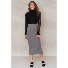 NA-KD Long Rib Knitted Slit Back Skirt (92 NOK) ❤ liked on Polyvore featuring skirts, dk greymelange, long maxi skirts, slit maxi skirt, midi maxi skirt, front slit maxi skirt and slit skirt