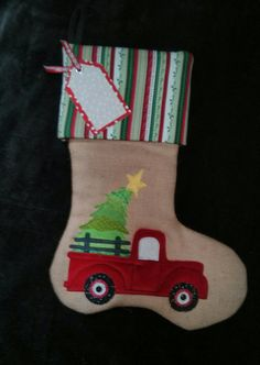 95c19bd6ccc I made this appliqued Truck Christmas Stocking for my grandson last year  and liked it so much I made several this year.