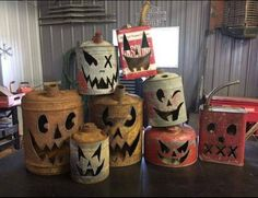 Metal gas can & container jack o lantern faces : primitive rustic outdoor halloween decor Halloween Prop, Rustic Halloween, Halloween Home Decor, Diy Halloween Decorations, Holidays Halloween, Vintage Halloween, Halloween Crafts, Halloween Wings, Outdoor Halloween
