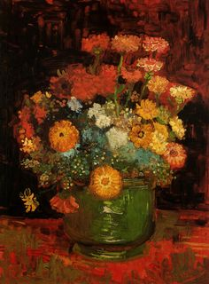 Vincent van Gogh Vase with Zinnias painting for sale, this painting is available as handmade reproduction. Shop for Vincent van Gogh Vase with Zinnias painting and frame at a discount of off. Vincent Van Gogh, Monet, Art Van, Van Gogh Flowers, Van Gogh Arte, Van Gogh Paintings, Photo D Art, Oil Painting Reproductions, Renoir